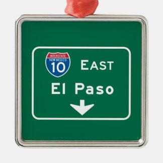 El Paso, señal de tráfico de TX Adorno Cuadrado Plateado