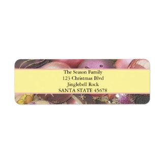 El pastel adorna navidad etiqueta de remitente