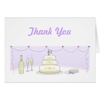 El pastel de bodas le agradece las tarjetas