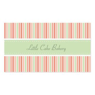El pastel raya la panadería tarjetas de negocios