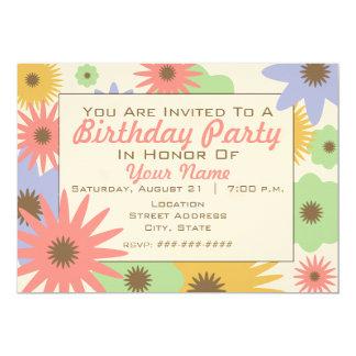 El pastel retro florece la invitación de la fiesta