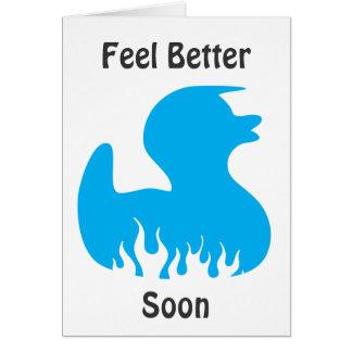 el pato azul, siente mejor pronto tarjeta de felicitación