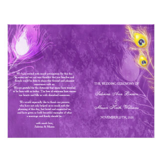 El pavo real del oro empluma programas púrpuras flyer personalizado