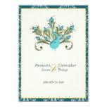 El pavo real empluma el boda del damasco invitación personalizada
