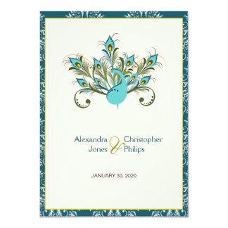 El pavo real empluma el boda del damasco invitación 11,4 x 15,8 cm