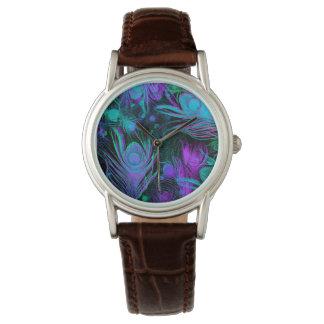 El pavo real empluma el reloj de moda de Julia