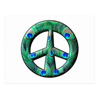 El pavo real empluma el signo de la paz postales