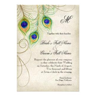 El pavo real empluma la invitación del boda