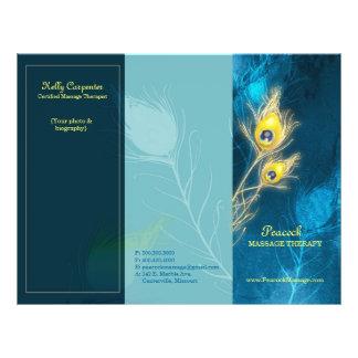 El pavo real empluma los folletos triples azules tarjetas publicitarias