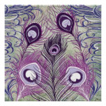 El pavo real púrpura bonito empluma diseño elegant poster