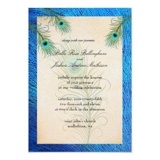 El pavo real verde azulado empluma la invitación
