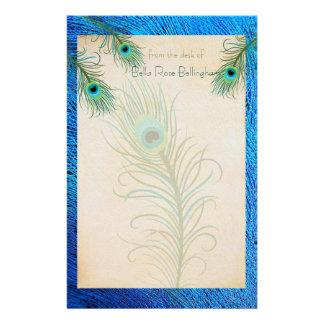 El pavo real verde azulado empluma los efectos de papelería