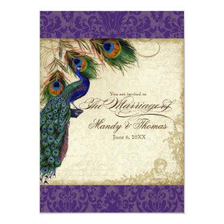 El pavo real y el boda formal de las plumas invitación 12,7 x 17,8 cm