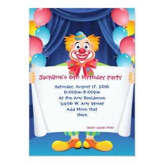 El payaso de circo embroma la invitación 5x7 de la