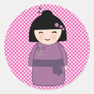 El pegatina de la muñeca de Kokeshi, brillante, 3