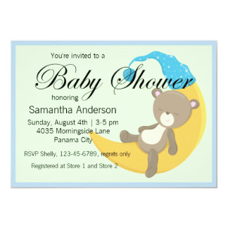 El peluche refiere la fiesta de bienvenida al bebé invitación 12,7 x 17,8 cm