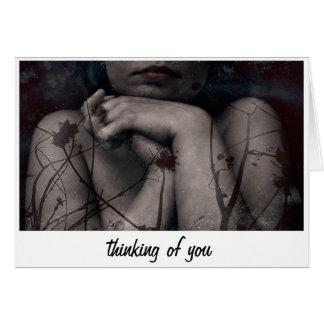 el pensamiento en usted carda tarjeta de felicitación
