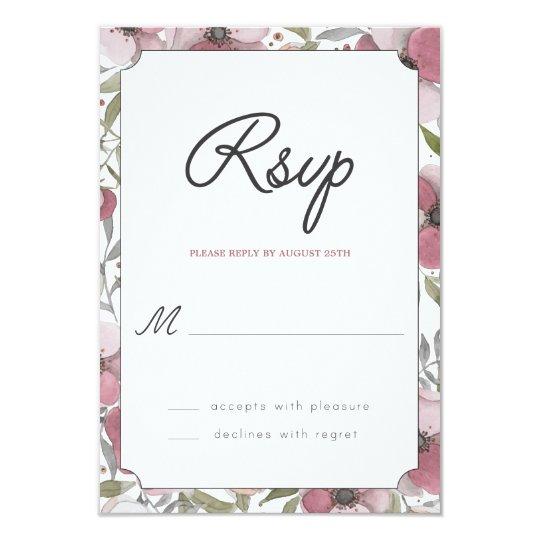 El pensamiento florece tarjeta de RSVP Invitación 8,9 X 12,7 Cm