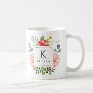 Taza De Café El Peony de moda de la acuarela florece la taza