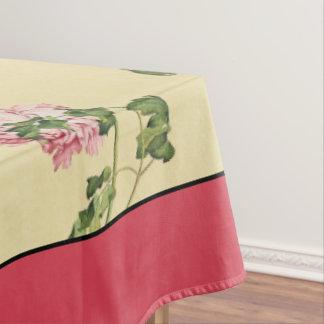 El Peony rosado asiático florece el mantel floral