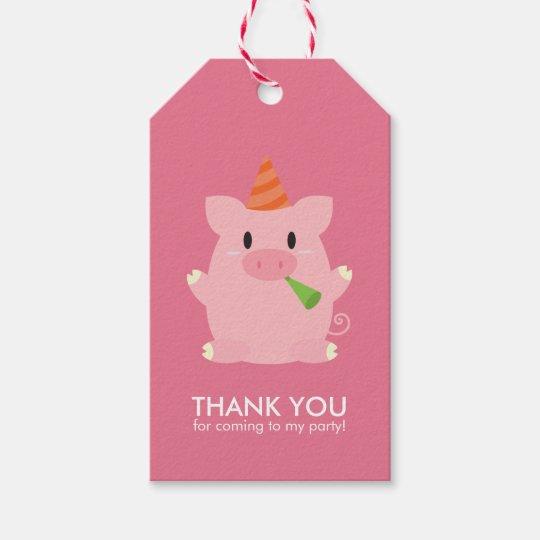 El pequeño cerdo lindo embroma a la fiesta de etiquetas para regalos