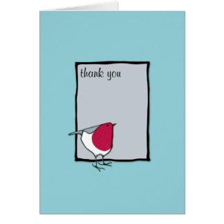 El pequeño gris del petirrojo le agradece tarjeta