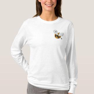 El pequeño vuelo lindo manosea la abeja bordada camiseta de mangas largas bordada