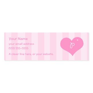 """El perfil de los corazones """"P"""" del alfabeto carda Tarjetas De Visita Mini"""