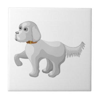 El perro da la pata azulejo cuadrado pequeño