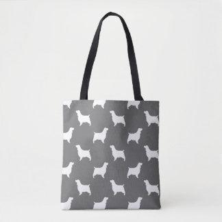 El perro de aguas de saltador inglés siluetea gris bolso de tela