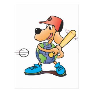 El perro de la tierra juega a béisbol postal
