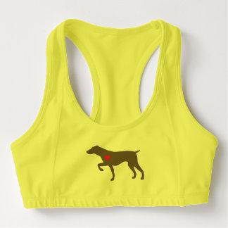 El perro del logotipo se divierte el sujetador