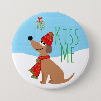 El perro del muérdago besa grande, botón redondo