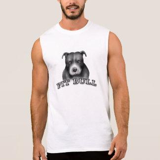 El perro del pitbull crea las camisetas sin mangas