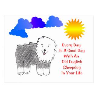 El perro pastor inglés viejo cada día es un buen postal