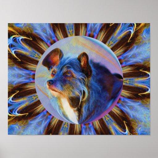 El perro que adora observa arte animal abstracto posters