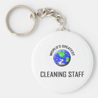 El personal de la limpieza más grande del mundo llavero redondo tipo chapa