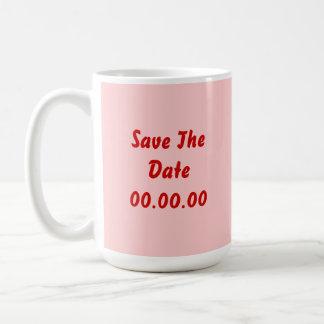 El personalizado ahorra la fecha Rojo y rosa Taza