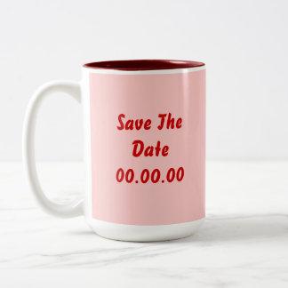 El personalizado, ahorra la fecha. Rojo y rosa Tazas De Café