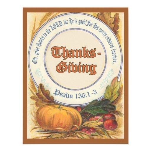 El personalizado cristiano de la acción de gracias invitaciones personales