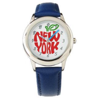 El personalizado embroma el reloj azul de Nueva