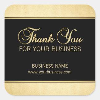 El personalizado le agradece por su negro del oro pegatina cuadrada