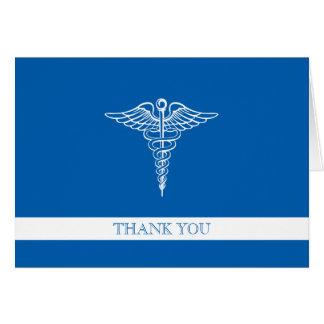 El personalizado profesional médico le agradece tarjeta de felicitación