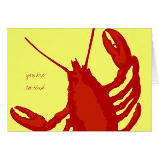 El personalizado rojo del amarillo de la langosta tarjeta pequeña