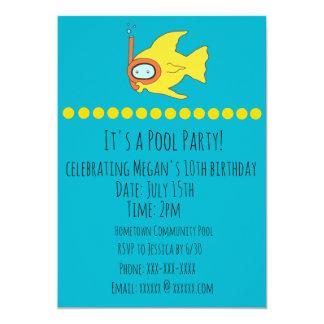 El pescado que bucea embroma a la fiesta en la invitación 12,7 x 17,8 cm