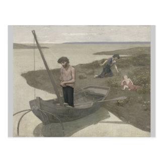 El pescador pobre de Puvis de Chavannes Postal