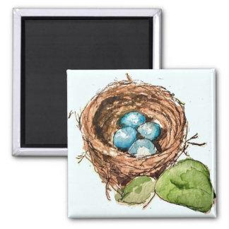 El petirrojo bonito de la acuarela eggs el imán de