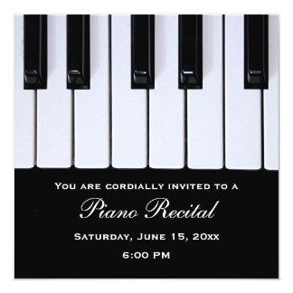 El piano cierra invitaciones del decreto del piano invitación 13,3 cm x 13,3cm