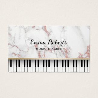 El piano del profesor de música cierra el mármol tarjeta de visita