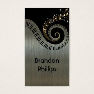 El piano metálico impreso del efecto cierra música tarjeta de negocios